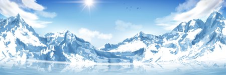 Spectacular snow mountain scenery dsign