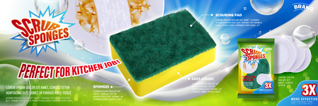 Scrub sponges ads poster design