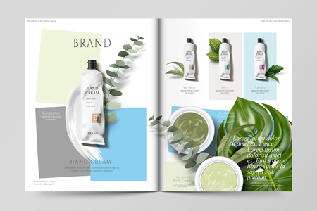 Cosmetic magazine template, set of hand cream products with green leaves.