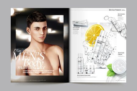 Men's cosmetic magazine template, skincare products with splashing liquid and handsome model. 向量圖像