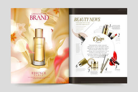 Cosmetic magazine template, flying satin and glitter particles background.