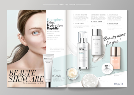 Elegant skin care magazine template, cosmetic products with attractive model.