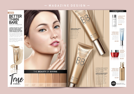 Fashion magazine template, attractive model with foundation product ads.