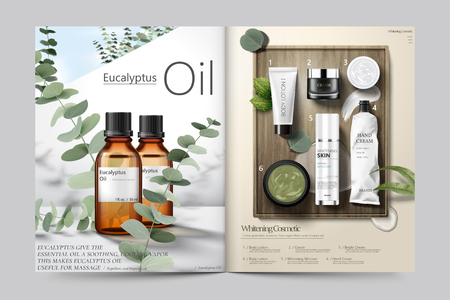 Cosmetic magazine template, Eucalyptus oil and skincare products. Stock Illustratie