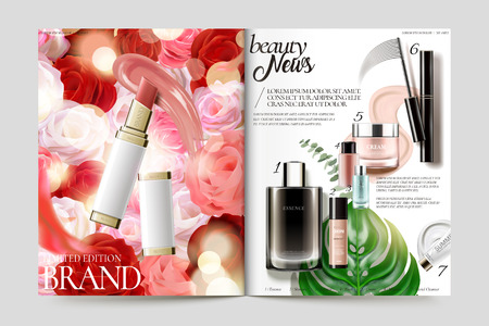 Cosmetic magazine template, lipstick and its texture isolated on rose background.