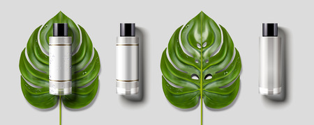 Blank cosmetic bottle set, green tropical leaves with blank bottle mockup in 3d illustration, light grey background