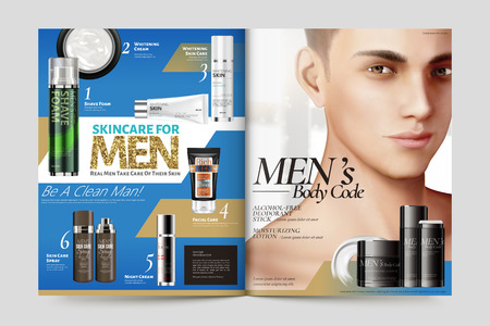 Men's cosmetic magazine template, skincare products with handsome model in 3d illustration