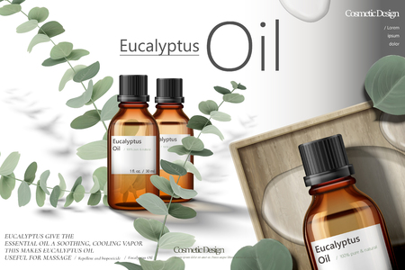 Eucalyptus oil ads, elegant natural products with green leaves in 3d illustration Ilustrace