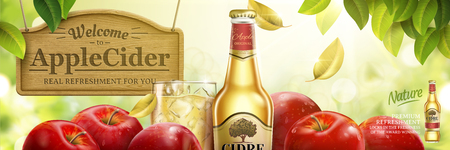 Apple cider ads, fruit beer with delicious apples in 3d illustration.