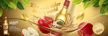 Apple cider ads, fruit beer with delicious apples floating in the liquid in 3d illustration. Vectores