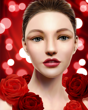 High fashion model, beautiful woman with red roses isolated on red bokeh background in 3d illustration Stock Illustratie