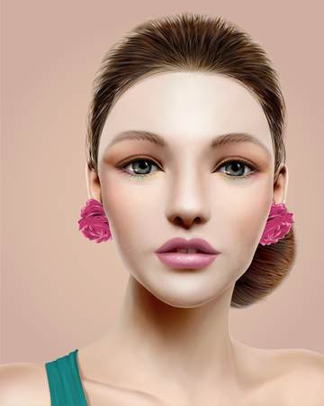 Flamenco dancer model, beautiful woman in colorful makeup in 3d illustration Stock Illustratie