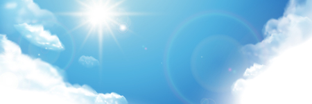 Beautiful blue sky, cloudscape with shiny sun in 3d illustration