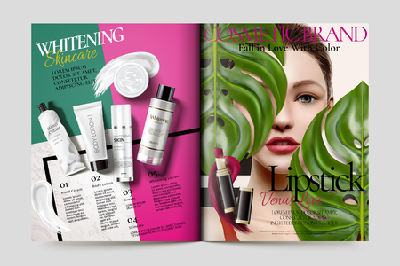 Cosmetic magazine ads, beautiful model with skin care products in 3d illustration