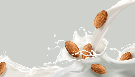 Milk splashing effect, milk pouring down with almond in 3d illustration for design uses
