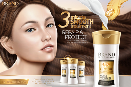 Attractive shampoo ad, hair repair shampoo products with charming model with glossy hair in 3d illustration
