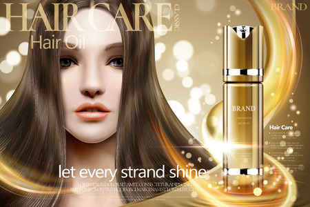 Hair oil ads, beautiful hair model with golden spray bottle on bokeh glitter background, 3d illustration