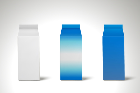 Milk carton set, blank carton container with milk for design uses in 3d illustration