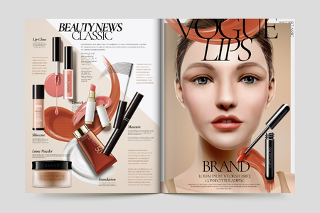 Cosmetic magazine ads, beautiful model with makeup accessories in 3d illustration