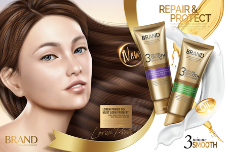 Hair smooth treatment ad, hair repair products with charming model with glossy hair in 3d illustration
