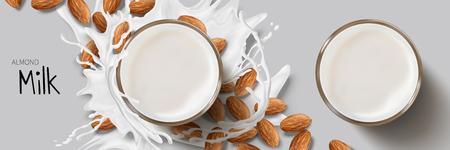Elemento de diseño de leche de almendras, vista superior de salpicaduras de leche alrededor de un vaso de vidrio y semillas de almendras en la ilustración 3d