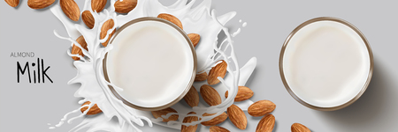 Almond milk design element, top view of splashing milk around glass cup and almond seeds in 3d illustration