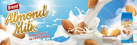 Almond milk ads, fabulous alternative beverage with splashing milk and almonds isolated on blue sky, 3d illustration Ilustração