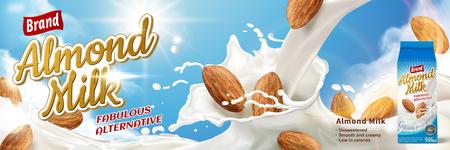 Annonces de lait d'amande, boisson alternative fabuleuse avec éclaboussures de lait et d'amandes isolés sur ciel bleu, illustration 3d