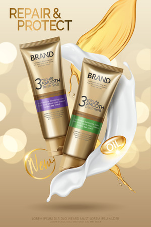 Hair smooth treatment ads, hair conditioner product with oil and cream texture in 3d illustration, golden bokeh background