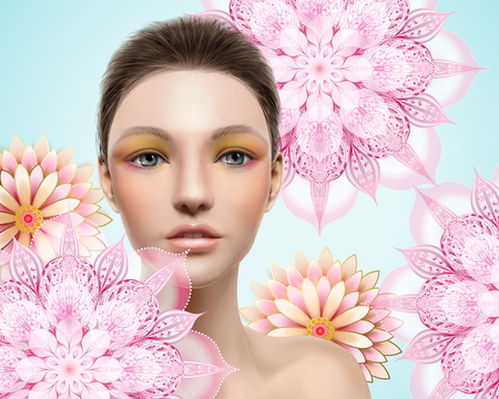 High fashion model, beautiful woman with pink mandala elements isolated on light blue background in 3d illustration