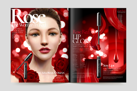 Cosmetic magazine ads, beautiful model with lip gloss products in 3d illustration, roses and red bokeh background
