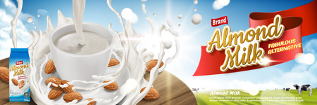 Almond milk ads, fabulous alternative beverage with splashing milk and almonds on wooden table in 3d illustration, farm bokeh background