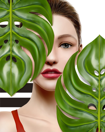 High fashion model, beautiful woman with green tropical foliage in 3d illustration Stock Illustratie