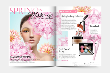 Cosmetic magazine ads, beautiful model with makeup accessories and pink mandala patterns in 3d illustration