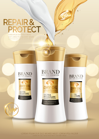 Gorgeous shampoo ads, hair conditioner product with oil and cream texture in 3d illustration, golden bokeh background