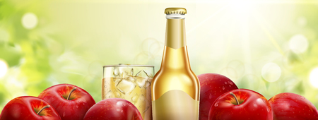 Apple cider with fresh fruits, refreshing beverage on bokeh background in 3d illustration