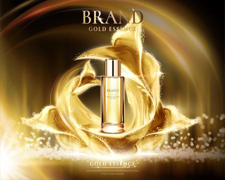 Reklamy złotej esencji, szklany pojemnik z błyszczącą satyną na abstrakcyjnym tle oświetlenia w ilustracji 3d Ilustracje wektorowe