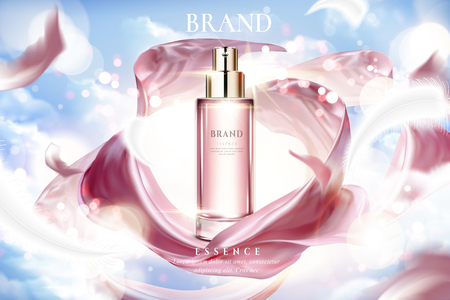 Cosmetic essence ads, exquisite container with smooth pink satin on lighting blue sky in 3d illustration Ilustração