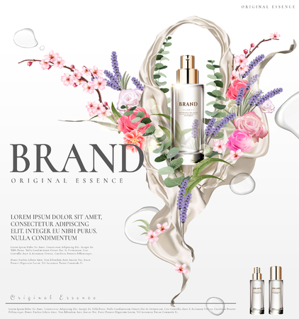 Romantic essence ads, transparent glass container with colorful flower ceremony design in 3d illustration