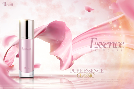 Cosmetic essence ads, pink container with flying satin and petals in 3d illustration