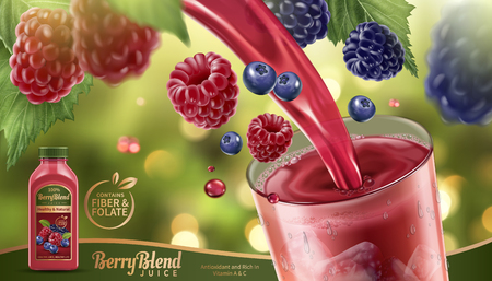 Berry blend juice with fresh fruits floating in the air and liquid pouring into a glass cup in 3d illustration, glittering bokeh background.