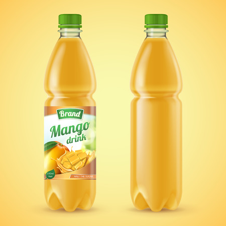 Mango juice package set in 3d illustration Illustration