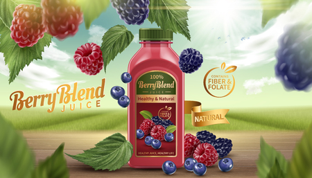 Berry blend bottled juice with fresh fruits on wooden table in 3d illustration, natural bokeh background.