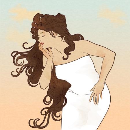Dea attraente con lunghi capelli castani in abito bianco.