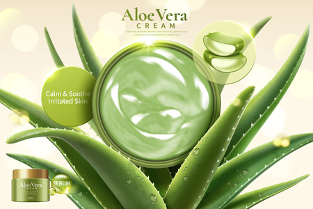 Aloe Vera cream on refreshing succulent leaves on glitter bokeh background in 3d illustration