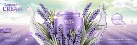 Crème de lavande avec des fleurs et des éclaboussures de feuilles de liquides sur fond de champ violet en illustration 3d