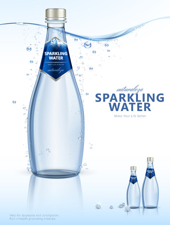 Sparkling water with clear bubbles under the pure water in 3d illustration, beverage poster, Naturaleza is spaninsh word means nature
