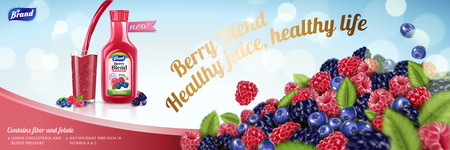 Natural berry blend juice with plenty fruit pile on light blue background in 3d illustration Illustration