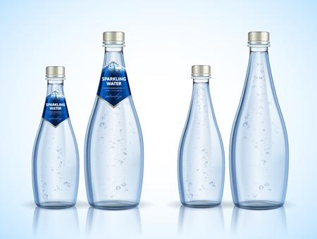 Design della confezione di acqua frizzante con bolle nell'illustrazione 3d, Naturaleza è la parola spaninsh che significa natura Vettoriali