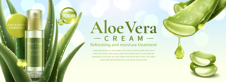 Aloe Vera skin care product covered by succulent leaves in 3d illustration, glitter bokeh background